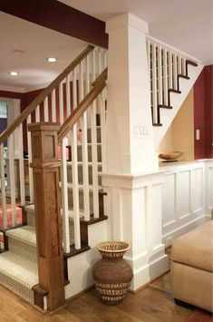 Basement stairs trim banisters New Ideas - Modern Basement Renovations, House, Family Room, Home, New Homes, Stairs Trim, Open Basement Stairs, Open Basement, Stairs