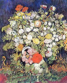 Van Gogh Art  Wildflowers in a Vase  1978 by mysunshinevintage