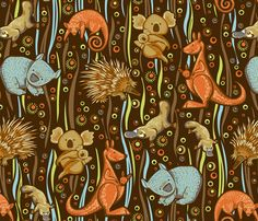 Aussie animal friends fabric by cjldesigns on Spoonflower