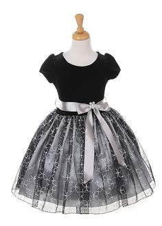 Silver with Black Velvet Holiday Girl Dress