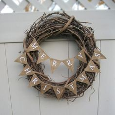 Small Christmas Banner, Natural Burlap, Merry Christmas, L041 rustic Christmas bunting. $15.00, via Etsy.