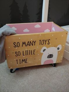 Toy box Rolling toy box So many toys so little time Toy bin Kids toy chest Nursery play room Rolling bin Woodland bear Newborn Toys, Baby Toys, Kids Toys, Newborn Babies, Toddler Toys, Diy Toy Box, Diy Box, Wood Projects, Woodworking Projects