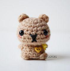 SALE Kawaii Brown Bear Mini Amigurumi Plush by twistyfishies, $12.00