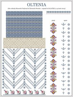 Semne Cusute: model de ie din OLTENIA Embroidery Motifs, Cross Stitch Embroidery, Embroidery Designs, Machine Quilting Patterns, Quilt Patterns, Cross Stitch Flowers, Counted Cross Stitch Patterns, Craft Patterns, Cross Stitching