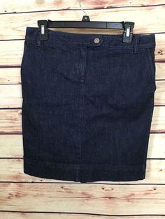 Ann Taylor LOFT denim skirt womens size 4P 1% spandex dark wash flap pockets #AnnTaylorLOFT #StraightPencil