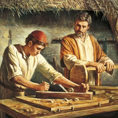 This is an image of Jesus learning woodworking from Joseph. I like this image because not very often do I see images of Jesus as a child or teenager. It is a good reminder that Jesus was a child once and had to learn things from his parents too. Images Bible, Bible Pictures, Jesus Pictures, Catholic Art, Religious Art, Religious Studies, Jesus Childhood, Image Jesus, Jesus Photo