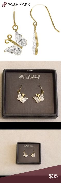 Crystal Butterfly Earrings These are beautiful genuine crystal and 18k gold over sterling silver. They are drop (like short dangly) earrings. Jewelry Earrings