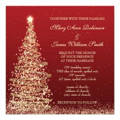 Elegant Christmas Wedding Red Announcement