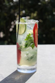 Spicy, sweet and ready to party! That is one way to describe this hand-crafted Jalapeño and Cilantro Margarita recipe from Medlock Ames.