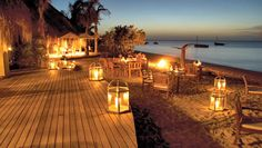 Azura Benguerra Island beach dining area.