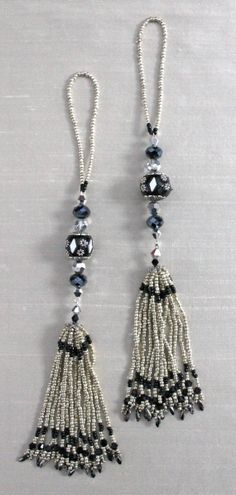 BEADED TASSELS Black and Silver mirror studded by GMBDesignsCustom, $29.00