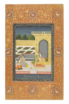 AN ILLUSTRATION TO A RAGAMALA SERIES: DIPAK RAGA. Opaque pigments heightened with gold on paper,  HYDERABAD, DECCAN, CENTRAL INDIA, THIRD QUARTER 18TH CENTURY