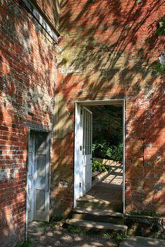 Door to the Orangery  In Calke Abbey gardens.