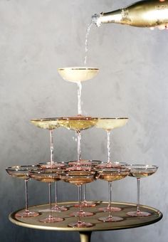 Vintage Champagne Coupe Tower | Sparkling Blush, Champagne, and Gold Retro Meets Modern Wedding Inspiration for New Years!