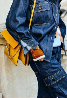 Layers of denim and an orange Chloe purse