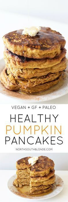 Healthy Recipes Healthy Pumpkin Pancakes (Vegan, Gluten-Free, Grain Free, Paleo) - Perfectly fluffy pumpkin pancakes will satisfy your cravings this fall - without all the calories and carbs. Delicious and healthy at the same time! Pancakes Végétaliens, Healthy Pumpkin Pancakes, Gluten Free Vegan Pancakes, Fluffy Pancakes, Pancakes Cinnamon, Almond Flour Pancakes, Breakfast Pancakes, Breakfast Casserole, Cinnamon Apples