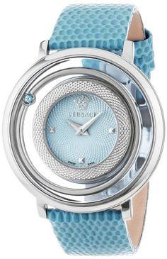 Versace Women's VFH020013 Venus Round Stainless Steel Ice Blue Genuine Topaz Quartz Watch: Watches: Amazon.com