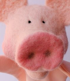 """Needle felted """"Pig Puppet detail"""" by Laura Lee Burch, www.lauraleeburch.com"""