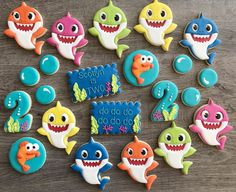 Image may contain: food Shark Birthday Cakes, 2nd Birthday Party Themes, Baby Boy 1st Birthday, Birthday Cookies, Boy Birthday Parties, Birthday Photos, Birthday Ideas, Shark Cookies, Baby Shark
