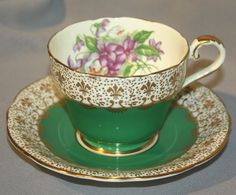 Aynsley Green Bone China Tea Cup and Saucer by ElvyRuths on Etsy, $45.00