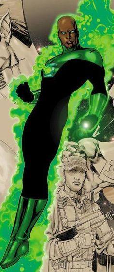 Green Lantern - John Stewart --- my favorite lantern. Dc Comics Characters, Dc Comics Art, Marvel Dc Comics, Dc Comic Books, Comic Book Heroes, Comic Art, Superman, Batman, Justice League