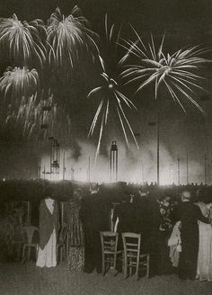 Feux d'artifice/Nuit de Longchamps, Paris, 1936 (Brassai)  Happy Bastille Day!