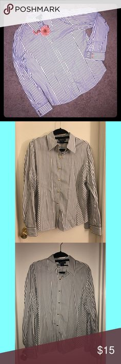 NWOT Jones New York long sleeve striped shirt NWOT Jones New York striped dress shirt (Size M) This is an essential piece to anyone's work wardrobe! It looks great tucked into a skirt or pants. Although It doesn't have the tags, this item is brand new.  Note: Size is a Medium but it runs as a Large  *Necklace not included Jones New York Tops Button Down Shirts