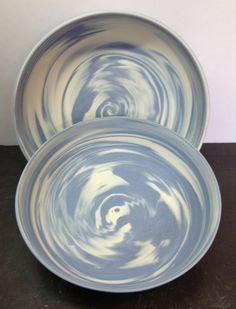 Porcelain and cobalt neriage bowls