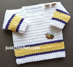 Free PDF baby crochet pattern for square neck sweater… Crochet Baby Sweaters, Crochet Baby Cardigan, Crochet Baby Clothes, Baby Knitting, Crotchet Patterns, Baby Patterns, Baby Set, Crochet For Boys, Boy Crochet