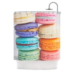 Kess InHouse Libertad Leal I Want Macaroons Shower Curtain Modern Shower Curtains, Striped Shower Curtains, Shower Curtain Sets, Contemporary Shower, Curtain Store, Shower Liner, No Bake Cookies, Gag Gifts, Macaroons