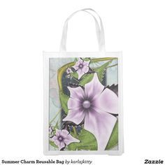 Summer Charm Reusable Bag  More products with a similar design: http://www.zazzle.com/karlajkitty/summer%20%22charm%22?q=summer%20%22charm%22  romantic pretty lavender pink purple glow shine pearl marbled flower fractal floral bloom