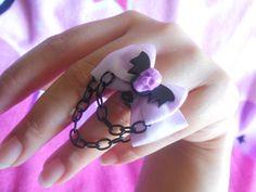 Pastel goth bat and skull ring purple