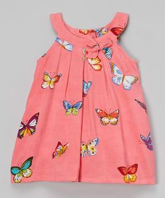Look at this #zulilyfind! Pink Butterfly Yoke Dress - Infant #zulilyfinds