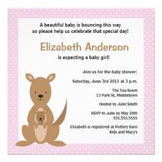 Cute Kangaroo Baby Shower Invitation - Girl.  $1.95