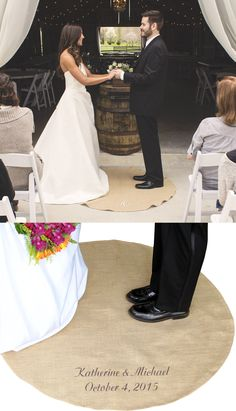 Perfect for an indoor alter or outdoor wedding ceremony arbor, a vows rug is a unique keepsake that the bride and groom stand on while they exchange their wedding vows. This functional ceremony decoration is custom embroidered with the bride and groom's name and wedding date, large single initial or 3-letter monogram. The newlyweds will have a timeless wedding keepsake to use as a wall decoration, end table cover or they can roll it up and keep in their wedding keepsake chest for a special d...