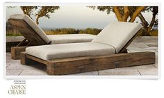 "couple seating in opposite directions: RH (Restoration Hardware) Outdoor Furniture Collection Spring 2013 ""Aspen Chaise"" Backyard Furniture, Diy Outdoor Furniture, Rustic Furniture, Furniture Projects, Modern Furniture, Furniture Design, Restoration Hardware Outdoor Furniture, Furniture Hardware, Outdoor Lounge"