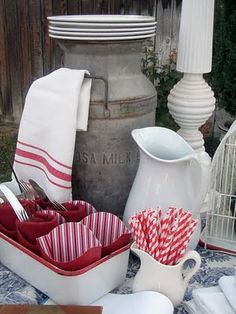 red and white table set up