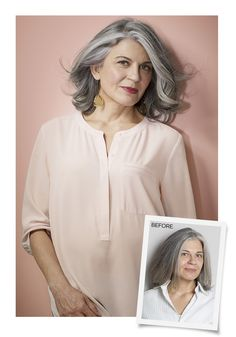 """Going gray doesn't have to age you. """"Gorgeous silver hair can be very distinctive,"""" says makeup artist Sonia Kashuk, founder of Sonia Kashuk Beauty. """"So own it by combining it with vibrant makeup. Just a bold lipstick or a touch of blush is enough to give you a stunning look."""""""