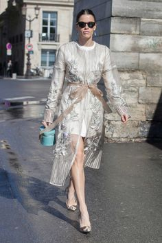 Paris Fashion Week #StreetStyle - sheer coat with floral appliqué