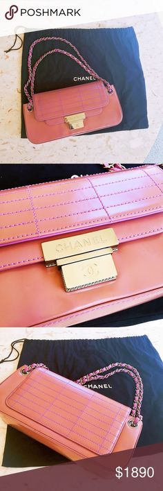561264d71a833 Chanel Pink Lavender Patent Purse In great condition. Patent leather is  dark salmon pink. Stitching and handles are lavender purple.
