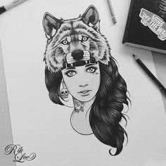 Awesome tattoo design - A girl with wolf hat, rose tattoo on her neck and a skull earring