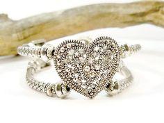 Silver Heart Cuff Bracelet Double Strand Silver by babbleon
