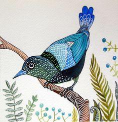 Blue Bird / Nature / Original Watercolor Painting by sublimecolors, $29.99