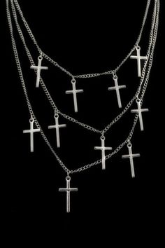 ROMWE | Triple Chain Cross Charm Necklace, The Latest Street Fashion #rowme