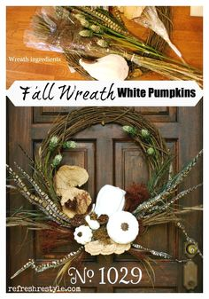 fall wreath idea with Goodwill pumpkins and spray paint