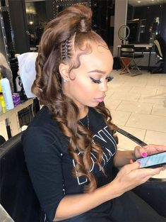 @kj3styn follow my soundcloud🍒 Ponytail Styles, Ponytail Hairstyles, Weave Hairstyles, Pretty Hairstyles, Curly Hair Styles, Weave Ponytail, Natural Hair Styles, Prom Hairstyles, Goddess Hairstyles