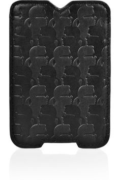 Karl|Embossed-leather iPhone sleeve