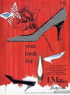 I.Miller (Shoes) 1957 J. Langlais Rose Butterfly