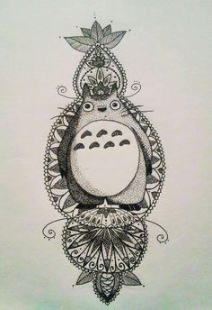 mandala Totoro dotwork