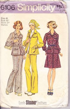 Vintage 1970s Sewing Pattern Flare Leg Pants by Sutlerssundries, $6.99